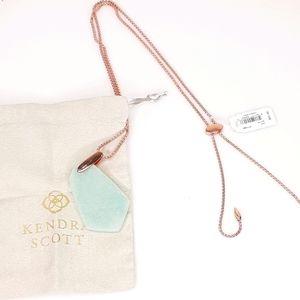 Kendra Scott Necklace Cam Rose Gold Teal Quartzite